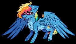 Size: 1280x739 | Tagged: safe, artist:sparky-boi, oc, oc:sunny side up, pegasus, pony, male, offspring, parent:rainbow dash, parent:soarin', parents:soarindash, simple background, solo, stallion, tongue out, transparent background