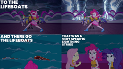Size: 1280x720 | Tagged: safe, edit, edited screencap, editor:quoterific, screencap, fluttershy, pinkie pie, rarity, human, equestria girls, equestria girls series, spring breakdown, spoiler:eqg series (season 2), cloud, female, geode of sugar bombs, hairpin, lifeboat, lightning, magical geodes, male, nose in the air, open mouth, storm, wavy mouth, yacht