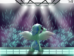 Size: 2000x1500 | Tagged: safe, artist:jadebreeze115, oc, oc only, oc:jade breeze, pegasus, pony, bipedal, cheering, colored wings, colorful, concert, crowd, ethereal mane, glowstick, gradient wings, lights, male, microphone, pegasus oc, rear view, solo, stage, stagelights, stallion, standing, wings