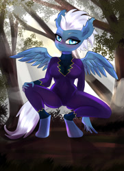 Size: 2000x2760 | Tagged: safe, artist:cali luminos, night glider, pegasus, anthro, unguligrade anthro, blushing, breasts, busty night glider, clothes, costume, ear fluff, fanart, female, looking at you, sexy, shadowbolts, shadowbolts costume, solo, suit
