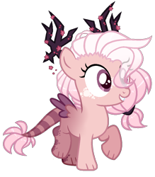 Size: 842x960 | Tagged: safe, artist:sparky-boi, oc, oc:sakura, hybrid, female, filly, interspecies offspring, offspring, parent:discord, parent:fluttershy, parents:discoshy, simple background, solo, transparent background