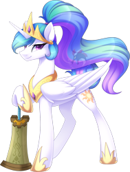 Size: 1231x1632   Tagged: safe, artist:scarlet-spectrum, princess celestia, alicorn, pony, g4, alternate hairstyle, alternate universe, crossover, crown, female, jewelry, looking at you, mace, mare, ponytail, regalia, simple background, smiling, smiling at you, solo, sword, the legend of zelda, transparent background, watermark, weapon