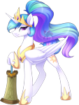 Size: 1231x1632 | Tagged: safe, artist:scarlet-spectrum, princess celestia, alicorn, pony, g4, alternate hairstyle, alternate universe, crossover, crown, female, jewelry, mace, mare, ponytail, regalia, simple background, solo, solo female, sword, the legend of zelda, transparent background, watermark, weapon