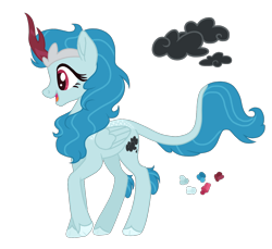 Size: 1200x1100   Tagged: safe, artist:magicuniclaws, oc, hybrid, female, magical lesbian spawn, offspring, parent:rain shine, parent:rainbow dash, simple background, solo, transparent background