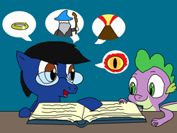 Size: 1500x1125 | Tagged: safe, artist:blazewing, spike, oc, oc:blazewing, dragon, pegasus, atg 2021, book, colored background, drawpile, eye of sauron, gandalf, glasses, lord of the rings, male, mount doom, newbie artist training grounds, open mouth, pictures, reading, ring, smiling, speech bubble, table, the one ring, volcano, winged spike, wizard
