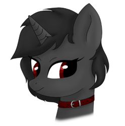 Size: 576x580 | Tagged: safe, artist:sundust, oc, oc only, oc:richard98, pony, unicorn, bust, collar, horn, looking at you, male, portrait, simple background, smiling, solo, solo male, stallion, unicorn oc, white background
