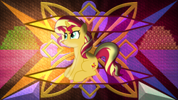 Size: 3840x2160 | Tagged: safe, artist:anime-equestria, artist:laszlvfx, edit, sunset shimmer, pony, unicorn, female, high res, looking up, mare, sitting, smiling, solo, wallpaper, wallpaper edit