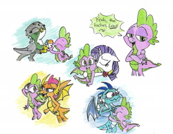 Size: 2200x1700 | Tagged: safe, artist:starpaintart, gabby, princess ember, rarity, smolder, spike, dragon, griffon, pony, unicorn, cheek kiss, crossed arms, dragoness, emberspike, eyes closed, female, fire ruby, floppy ears, flying, food, gem, hug, ice cream, kissing, male, ruby, shipping, simple background, spabby, sparity, spike gets all the mares, spolder, straight, traditional art, white background, winged spike