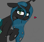 Size: 1315x1256 | Tagged: safe, artist:pinkberry, queen chrysalis, changeling, changeling queen, cheeselegs, cute, cutealis, female, forked tongue, gray background, heart, human shoulders, lidded eyes, looking at you, lubed, raised hoof, simple background, slit pupils, text, tongue out, wavy mouth