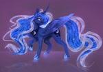 Size: 2800x1958 | Tagged: safe, artist:copshop, princess luna, alicorn, pony, curved horn, digital art, female, horn, mare, smiling, solo