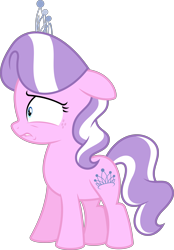 Size: 4460x6400 | Tagged: safe, artist:parclytaxel, edit, editor:slayerbvc, vector edit, diamond tiara, earth pony, cropped, female, filly, freckles, jewelry, lip bite, simple background, solo, tiara, transparent background, vector