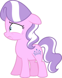 Size: 4460x5596 | Tagged: safe, artist:parclytaxel, edit, editor:slayerbvc, vector edit, diamond tiara, earth pony, accessory-less edit, cropped, female, filly, freckles, lip bite, missing accessory, simple background, solo, transparent background, vector