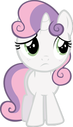 Size: 8456x14673 | Tagged: safe, artist:cyanlightning, edit, editor:slayerbvc, vector edit, sweetie belle, unicorn, female, filly, freckles, looking back, simple background, solo, transparent background, vector