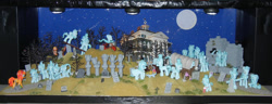 Size: 1024x393 | Tagged: safe, artist:silverband7, ghost, ghost pony, bicycle, diorama, full moon, graveyard, moon, the haunted mansion