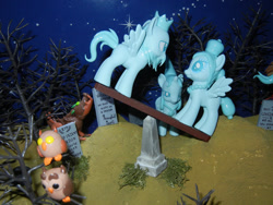 Size: 1024x768   Tagged: safe, artist:silverband7, bird, dog, ghost, ghost pony, owl, pegasus, seesaw, the haunted mansion