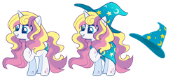 Size: 1280x579   Tagged: safe, artist:renhorse, oc, oc:star sorceress, pony, unicorn, female, hat, mare, simple background, solo, transparent background, witch hat