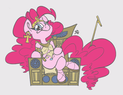 Size: 3300x2550 | Tagged: safe, artist:leadhooves, color edit, edit, editor:datzigga, pinkie pie, earth pony, pony, colored, egyptian, looking at you, solo, throne