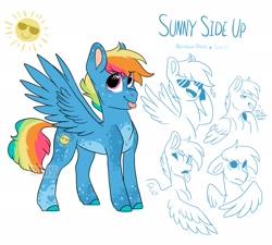 Size: 2158x1946   Tagged: safe, artist:moccabliss, oc, oc:sunny side up, pegasus, pony, male, offspring, parent:rainbow dash, parent:soarin', parents:soarindash, solo, stallion, sunglasses