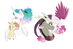 Size: 2540x1708   Tagged: safe, artist:moccabliss, discord, princess celestia, oc, oc:cinder, oc:neko, alicorn, hybrid, pony, alternate hairstyle, bust, dislestia, ethereal mane, family, father and child, father and daughter, female, hug, interspecies offspring, looking at each other, male, mother and child, mother and son, offspring, one eye closed, parent:discord, parent:princess celestia, parents:dislestia, ponytail, shipping, simple background, starry mane, straight, white background, winghug, wings