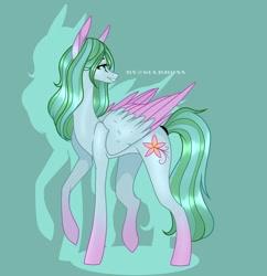 Size: 928x958   Tagged: safe, artist:sia.brony, oc, oc only, pegasus, pony, eyelashes, green background, looking back, pegasus oc, raised hoof, simple background, smiling, solo