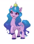 Size: 1585x2048 | Tagged: safe, artist:u_lu_lu, izzy moonbow, pony, unicorn, g5, ball, bracelet, cute, eyelashes, female, horn, horn guard, horn impalement, hornball, izzy's tennis ball, izzybetes, jewelry, looking at you, mare, open mouth, raised hoof, simple background, solo, tennis ball, unshorn fetlocks, white background