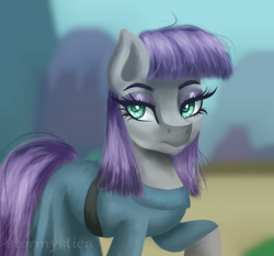 Size: 3000x2800 | Tagged: safe, artist:stormystica, maud pie, earth pony, pony, clothes, dress, eyeshadow, fanart, female, looking at you, makeup, mare, ponyville, raised hoof, solo