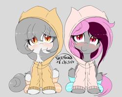 Size: 3743x3000   Tagged: safe, artist:freefraq, oc, oc only, oc:lai chi, oc:lilac san, bat pony, bat pony oc, blushing, cheek fluff, chest fluff, clothes, cute, hoodie, socks, striped socks