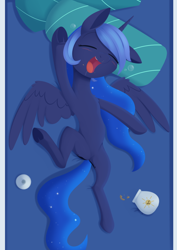 Size: 988x1394   Tagged: safe, artist:dusthiel, princess luna, alicorn, pony, atg 2021, cookie, cookie jar, cute, eyes closed, female, filly, food, lunabetes, mare, newbie artist training grounds, open mouth, sleeping, solo, woona, younger