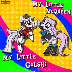 Size: 2435x2435 | Tagged: safe, artist:hachiya, pony, anime, crossover, duo, female, gold ship, mare, mejiro mcqueen, ponified, uma musume pretty derby