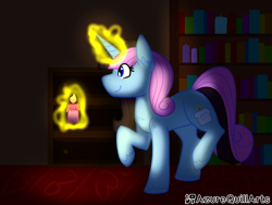 Size: 1600x1200 | Tagged: safe, artist:azure-quill, oc, pony, unicorn, candle, female, magic, mare, solo
