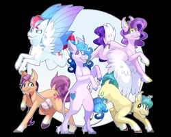 Size: 1251x1001   Tagged: safe, artist:jillxwolfe, hitch trailblazer, izzy moonbow, pipp petals, sunny starscout, zipp storm, earth pony, pegasus, pony, unicorn, g5, abstract background, bag, bipedal, braid, cheek fluff, cloven hooves, coat markings, colored wings, ear fluff, female, flying, hoof fluff, leonine tail, looking at you, male, mane five (g5), mare, multicolored wings, one eye closed, open mouth, raised hoof, sash, socks (coat markings), stallion, tail, unshorn fetlocks, wings, wink