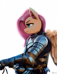 Size: 1600x2061 | Tagged: safe, artist:mrscroup, fluttershy, pegasus, anthro, armor, badass, convincing armor, digital art, female, flutterbadass, flutterknight, knight, mare, serious, serious face, solo