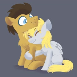 Size: 2048x2048   Tagged: safe, artist:yaaaco, derpy hooves, doctor whooves, time turner, earth pony, pegasus, pony, black background, chest fluff, cute, derpabetes, doctorderpy, eyes closed, female, hug, male, mare, missing cutie mark, nuzzling, raised hoof, shipping, simple background, stallion, straight