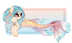 Size: 1771x1062   Tagged: safe, artist:ponsel, oc, oc only, hybrid, merpony, seapony (g4), starfish, adoptable, deviantart watermark, dorsal fin, eyelashes, female, fish tail, flowing tail, jewelry, necklace, obtrusive watermark, red eyes, regalia, simple background, smililng, solo, tail, watermark, white background