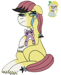 Size: 856x1044   Tagged: safe, artist:gray star, derpibooru exclusive, oc, oc:sunny side(gray star), crying, female, glasses, plushie, sitting, trans female