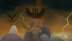 Size: 3527x2048   Tagged: safe, artist:lordshrekzilla20, kaiju, fanfic:the one true king, canterlot, destruction, fanfic art, fire, godzilla (series), godzilla: king of the monsters 2019, king ghidorah, lightning, rodan, ruins, smoke, storm, story included