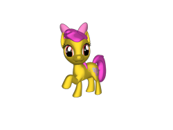 Size: 1200x900   Tagged: safe, artist:mrbarney94, apple bloom, earth pony, pony, g1, g4, 3d, 3d pony creator, bow, female, filly, g1 style, ponylumen, raised hoof, raised leg, simple background, transparent background
