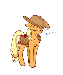 Size: 918x1090 | Tagged: safe, artist:aquaticvibes, applejack, earth pony, pony, applebuck season, atg 2021, cheek fluff, chest fluff, cute, drool, eyes closed, floppy ears, horses doing horse things, jackabetes, newbie artist training grounds, onomatopoeia, silly, silly pony, simple background, sleeping, sleeping while standing, solo, sound effects, white background, who's a silly pony, zzz