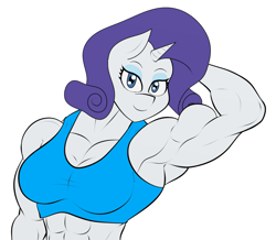 Size: 1147x1001   Tagged: safe, artist:matchstickman, rarity, anthro, abs, bicep, breasts, clothes, female, flexing, lidded eyes, looking at you, muscles, muscular female, pose, ripped rarity, simple background, smiling, solo, sports bra, white background