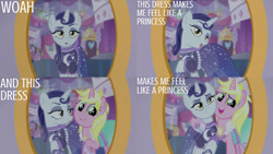 Size: 1280x720   Tagged: safe, edit, edited screencap, editor:quoterific, screencap, lily love, moonlight raven, sunshine smiles, pony, unicorn, canterlot boutique, season 5, clothes, dress, duo focus, female, mare, mirror, open mouth, siblings, sisters, smiling