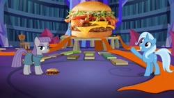 Size: 1280x720 | Tagged: safe, artist:heyitshayburgers, edit, edited screencap, screencap, maud pie, trixie, earth pony, unicorn, uncommon bond, burger, cheeseburger, food, hamburger, mcrib