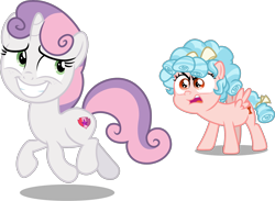 Size: 2441x1783 | Tagged: artist needed, safe, artist:chrzanek97, edit, editor:slayerbvc, vector edit, cozy glow, sweetie belle, pegasus, unicorn, angry, awkward smile, cozy glow is best facemaker, cozy glow is not amused, cute, cutie mark, diasweetes, female, filly, freckles, looking back, running, sheepish grin, simple background, smiling, the cmc's cutie marks, transparent background, vector