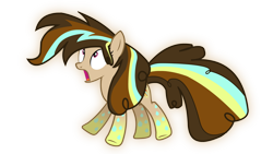 Size: 1920x1080 | Tagged: safe, artist:jakeneutron, oc, oc:cupcake slash, earth pony, alternate hairstyle, alternate tailstyle, earth pony oc, female, gradient hooves, looking up, mare, open mouth, rainbow power, rainbow power-ified, solo, surprised, vector, wubcake