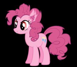 Size: 1495x1303 | Tagged: safe, artist:jakeneutron, pinkie pie, bat pony, earth pony, alternate cutie mark, bat ponified, cute, cute little fangs, fangs, pinkiebat, puppet, race swap, red eyes, redesign, simple background, smiling, species swap, transparent background