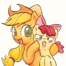 Size: 892x892 | Tagged: safe, artist:goodsleepy2, apple bloom, applejack, earth pony, pony, blushing, bow, cheeks, cowboy hat, female, filly, hair bow, hat, looking at you, mare, siblings, simple background, sisters, squishy cheeks, traditional art, watercolor painting, white background