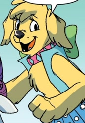 Size: 866x1255 | Tagged: safe, artist:briannacherrygarcia, fiona floppyears, diamond dog, idw, spoiler:comic, spoiler:comicannual2021, bipedal, clothes, collar, female, female diamond dog, now, season 10, smiling, vest