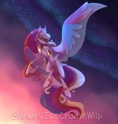 Size: 1280x1344 | Tagged: safe, artist:sugaryicecreammlp, oc, oc:boreal wish, alicorn, pony, female, flying, mare, solo