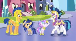 Size: 1024x560 | Tagged: safe, artist:velveagicsentryyt, flash sentry, shining armor, oc, oc:chryssa, oc:velvet sentry, pegasus, pony, unicorn, armor, base used, deviantart watermark, female, filly, obtrusive watermark, offspring, parent:flash sentry, parent:princess cadance, parent:shining armor, parent:twilight sparkle, parents:flashlight, parents:shiningcadance, royal guard armor, salute, watermark