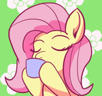 Size: 1280x1200   Tagged: safe, artist:zeronixma, fluttershy, pegasus, pony, atg 2021, cute, eyes closed, food, newbie artist training grounds, shyabetes, sipping, sipping tea, solo, tea