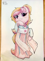 Size: 3024x4032 | Tagged: safe, artist:b_m, oc, oc only, oc:yulong, earth pony, pony, semi-anthro, clothes, female, mare, solo, traditional art, watercolor painting